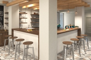 Clubhouse kitchen features two open bar areas and hanging lights