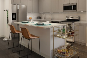 Kitchen features a large island with bar seating