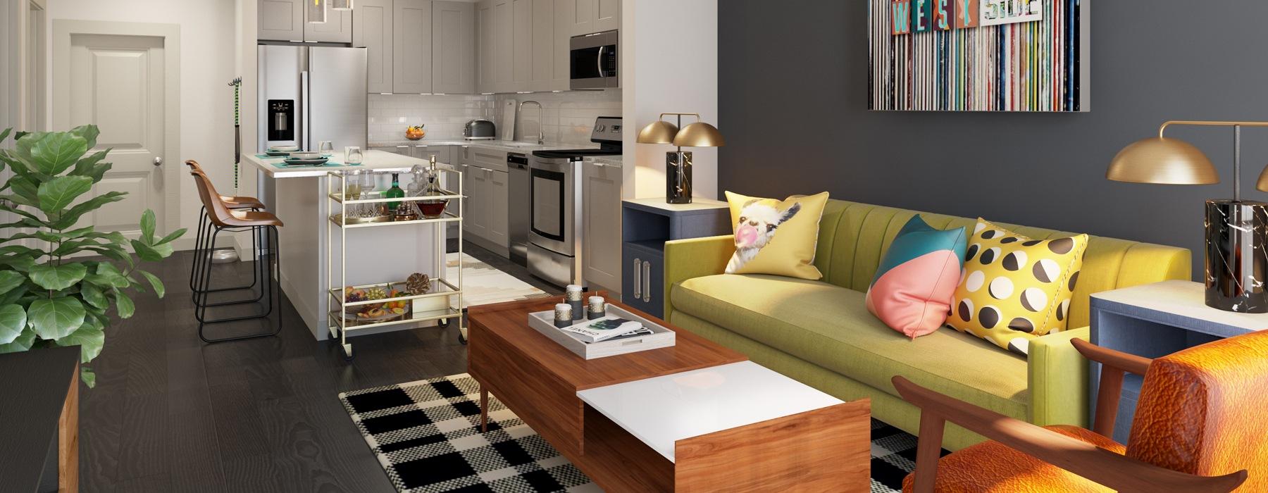 Open living room kitchen combo with dining seating at the kitchen island