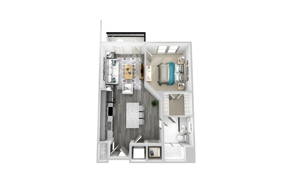 A2 - 1 bedroom floorplan layout with 1 bath and 715 square feet.