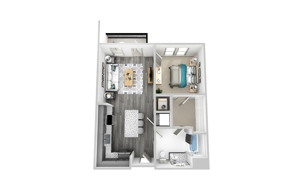 A3 - 1 bedroom floorplan layout with 1 bath and 718 square feet.