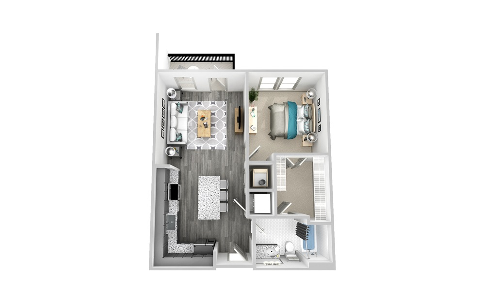 A4 - 1 bedroom floorplan layout with 1 bath and 744 square feet.