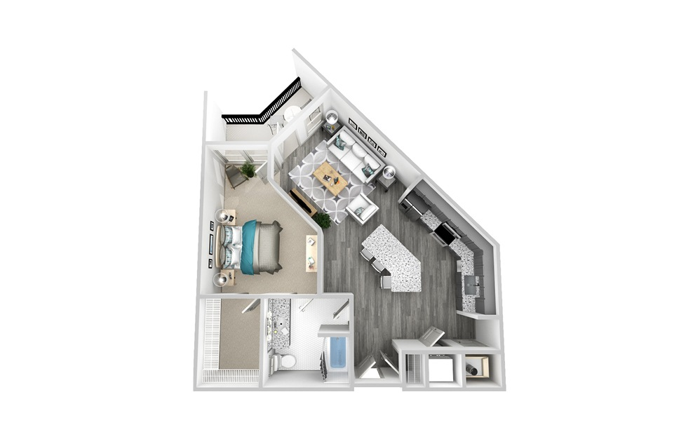 A5 - 1 bedroom floorplan layout with 1 bath and 853 square feet.