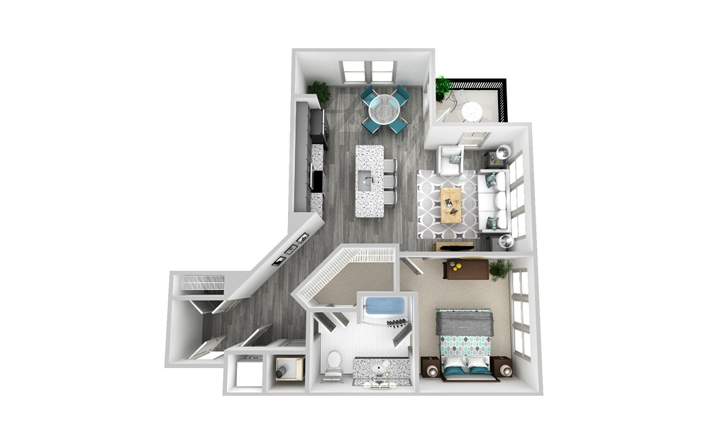 A6 - 1 bedroom floorplan layout with 1 bath and 914 square feet.
