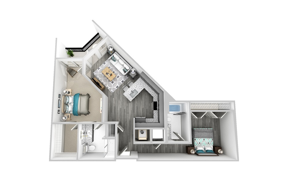 A7 - 2 bedroom floorplan layout with 2 baths and 1091 square feet.