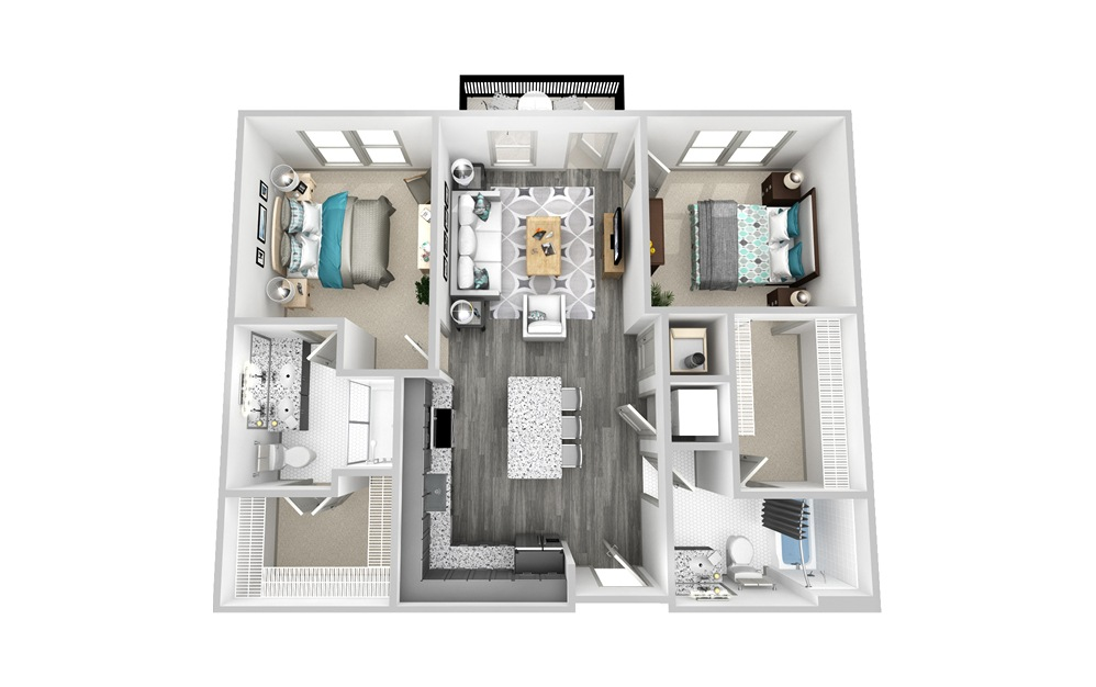 B1 - 2 bedroom floorplan layout with 2 baths and 1077 square feet.