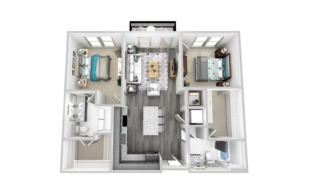B1A - 2 bedroom floorplan layout with 2 baths and 1077 square feet.