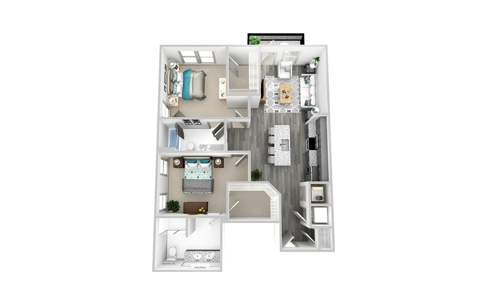 B2 - 2 bedroom floorplan layout with 2 baths and 1202 square feet.