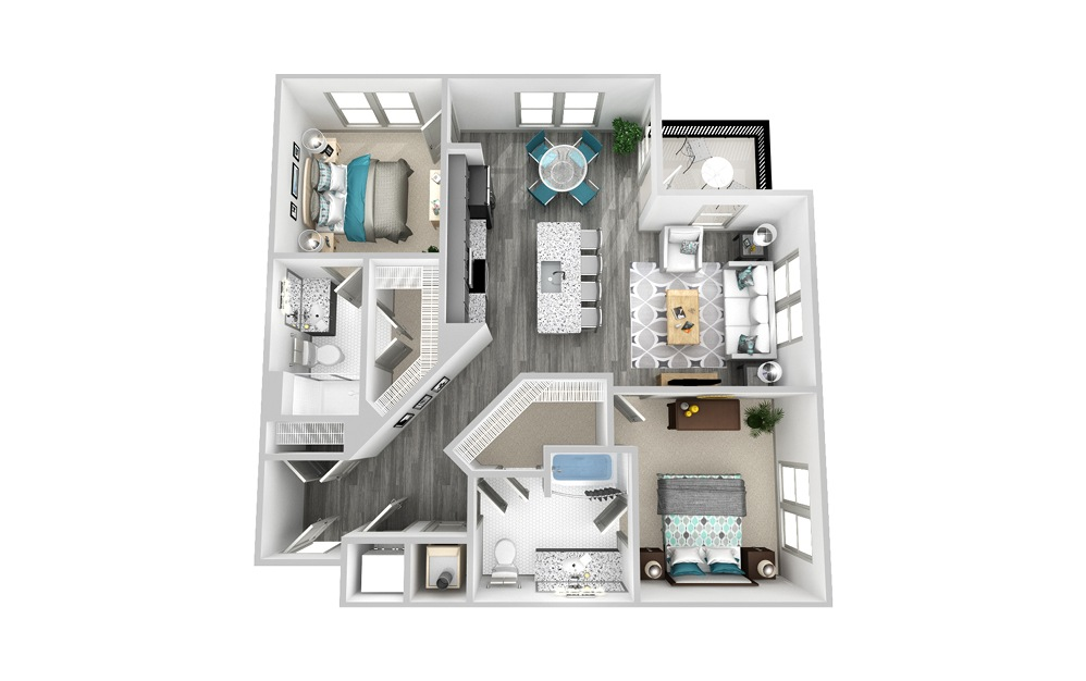 B3 - 2 bedroom floorplan layout with 2 baths and 1171 square feet.