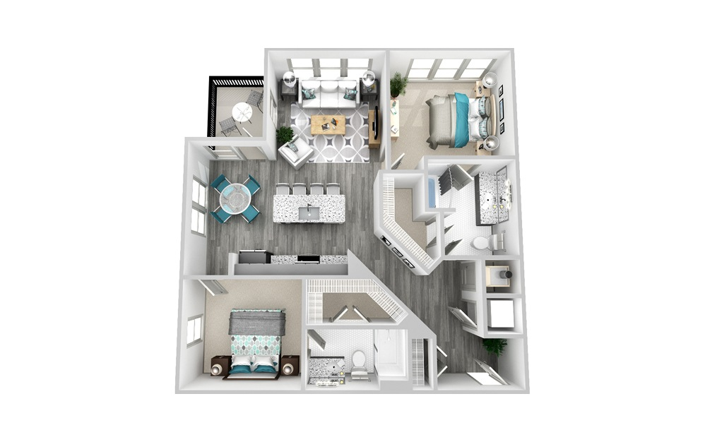 B4 - 2 bedroom floorplan layout with 2 baths and 1184 square feet.