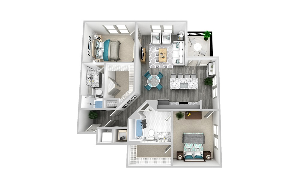 B5 - 2 bedroom floorplan layout with 2 baths and 1216 square feet.