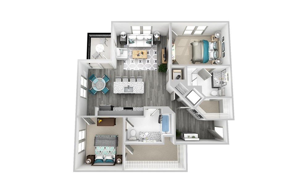 B6 - 2 bedroom floorplan layout with 2 baths and 1256 square feet.