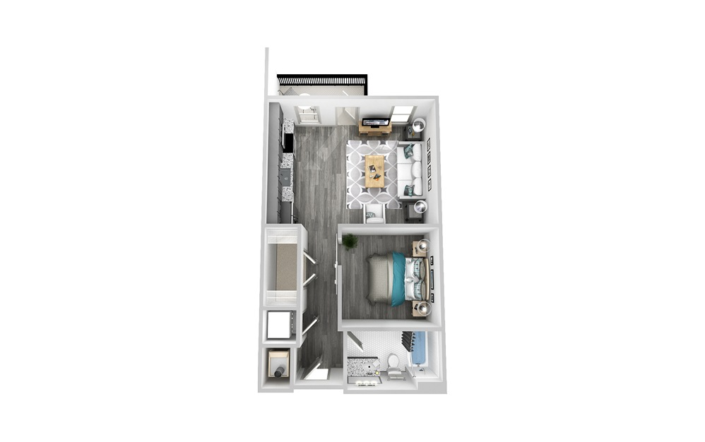 SA1 - Studio floorplan layout with 1 bath and 625 square feet.
