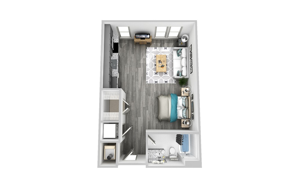 SAF - Studio floorplan layout with 1 bath and 566 square feet.